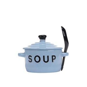 Bol și lingură pentru supă CGB de culoare albastră
