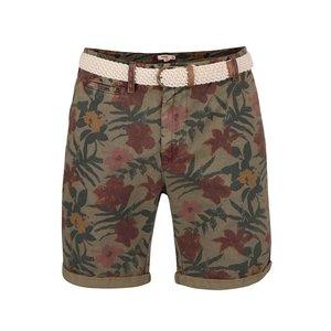Pantaloni Scurti Bellfield Bulmer Kaki Cu Imprimeu Tropical