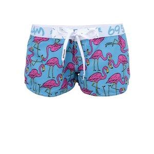 Pantaloni scurți de damă turcoaz cu flamingo 69SLAM Flamingo