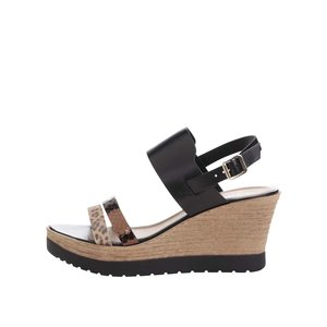Sandale cu platformă Tamaris maro/negre din piele la pretul de 209.99