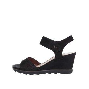 Sandale cu platformă Tamaris negre din piele la pretul de 157.5