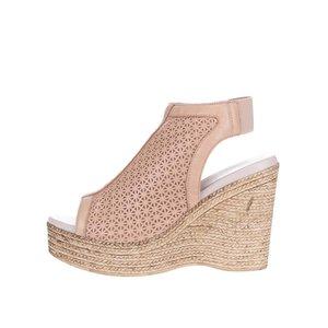 OJJU, Sandale din piele OJJU bej cu platformă