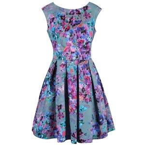 Closet, Rochie Closet albastru pal cu imprimeu floral