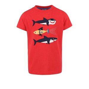 Tricou Frugi Stanley roșu cu print rechini