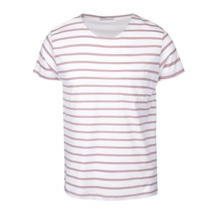 Selected, Tricou cu dungi Selected Homme Stroke crem