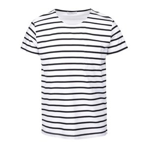 Tricou cu dungi Selected Homme Stroke alb