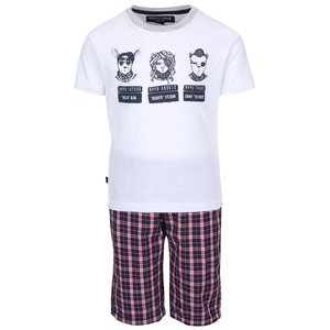 Set pantaloni scurți și tricou North Pole Kids alb cu vișiniu