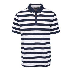 Tricou polo Nautica cu dungi crem-albastre