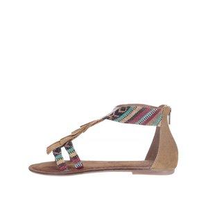 Sandale maro Tamaris cu franjuri