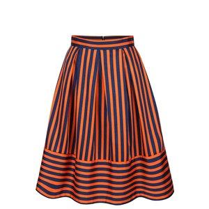 Fustă bleumarin cu portocaliu Closet cu model în dungi
