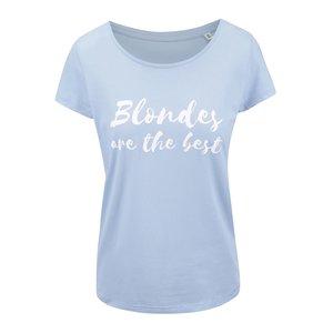 Tricou albastru deschis ZOOT Original Blondes Are The Best din bumbac pentru femei