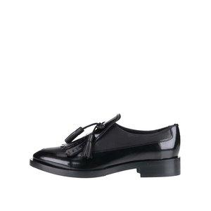 GEOX, Pantofi negri Geox Brogue din piele cu aspect lucios