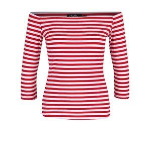Bluză roșie în dungi Dolly & Dotty Gloria cu decolteu pe umeri