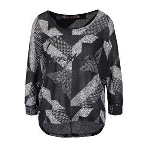 Desigual, Bluză negru-gri Desigual Mabel cu model geometric