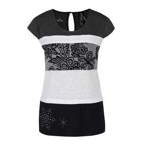 Desigual, Tricou negru-gri cu model Desigual Shannen