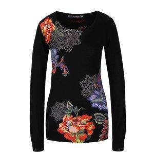 Pulover negru din jerseu Desigual Miranda cu model floral