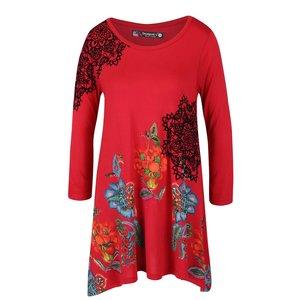 Bluză roșie Desigual Ramona cu tiv asimetric la pretul de 264.99