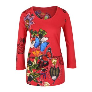 Bluză roșie cu model natură Desigual Carisma