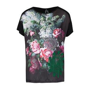 Desigual, Tricou negru cu model floral Desigual Georgia