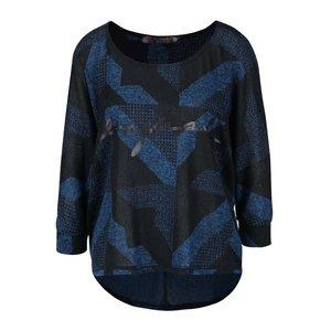 Desigual, Bluză negru-albastru Desigual Mabel cu model geometric