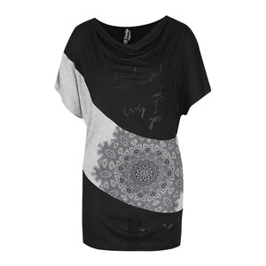Desigual, Tricou negru-gri cu model Desigual Suiza