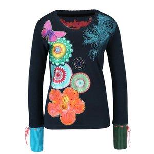 Bluză albastru petrol tricotată Desigual Piti cu model
