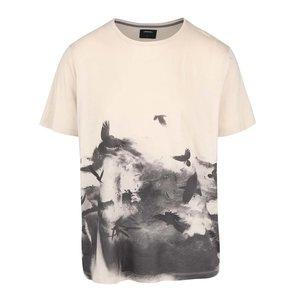 Burton Menswear London, Tricou bej cu imprimeu păsări Burton Menswear London