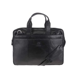 Geantă neagră pentru laptop Lucleon California din piele