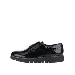 GEOX, Pantofi negri Geox Blenda din piele cu aspect lăcuit