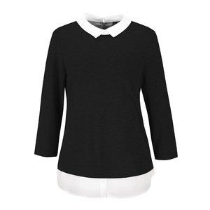 Bluză neagră VILA Tinny cu guler alb