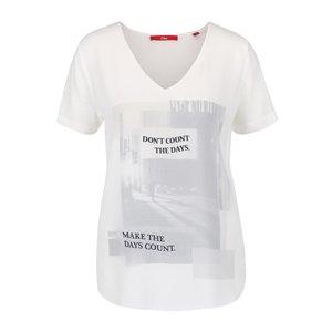 Tricou crem s.Oliver cu imprimeu pentru femei la pretul de 123.49