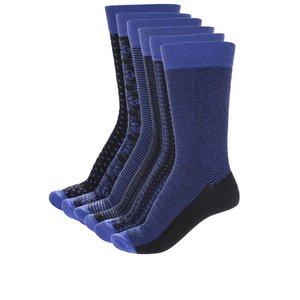 Oddsocks, Set 6 șosete albastre&negre Oddsocks Suit cu model discret pentru bărbați