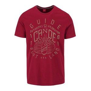 s.Oliver, Tricou roșu burgundy s.Oliver din bumbac cu imprimeu