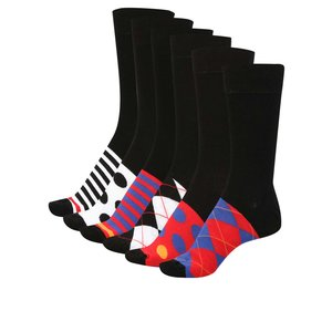 Oddsocks, Set 6 șosete negre Oddsocks pentru bărbați