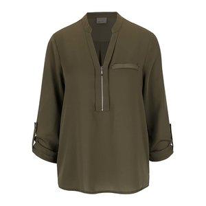 Bluză verde închis Vero Moda Kim cu fermoar decorativ