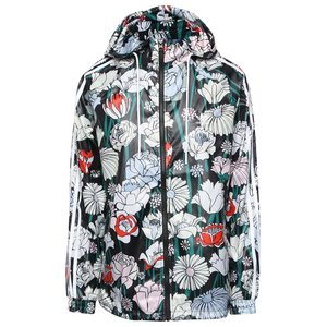 adidas Originals, Jachetă neagră adidas Originals Windbreaker cu imprimeu floral