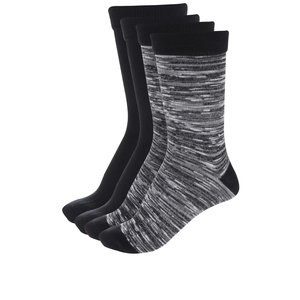 Set de 4 șosete negre și negru-crem Jack & Jones Black