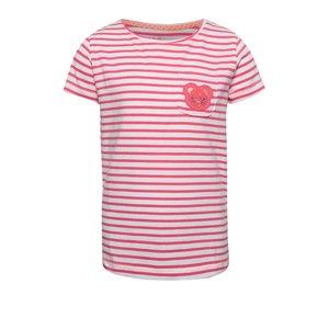 Tricou crem & roz 5.10.15. cu model în dungi și print pentru fete