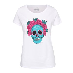 Tricou alb ZOOT Original Muerte cu print, de damă