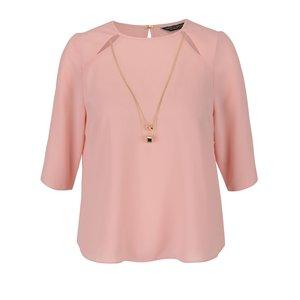 Bluză corai Dorothy Perkins cu accesoriu auriu