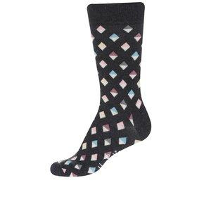 Happy Socks, Șosete gri închis Happy Socks Mini Diamond pentru bărbați
