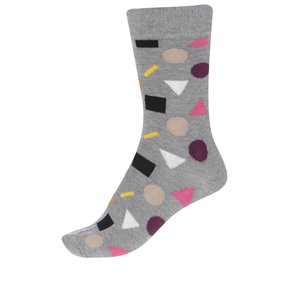 Șosete gri Happy Socks Play cu imprimeu cu motive geometrice