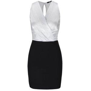 Rochie negru-argintiu Haily´s Shirley cu decolteu suprapus
