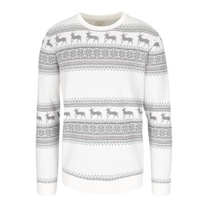Pulover crem Selected Homme New Reindeer din bumbac cu motive geometrice
