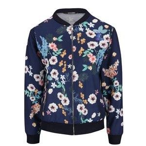 Jachetă bomber albastru închis Haily´s Nicky cu imprimeu floral