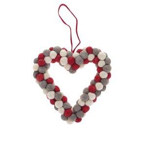 Sass & Belle, Ornament crem & roșu & gri Sass & Belle din lână