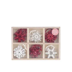 Sass & Belle, Set de 24 ornamente roșii & albe Sass & Belle din lemn