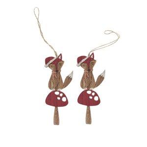 Set De 2 Ornamente Maro & Rosu Sass & Belle Festive Din Lemn
