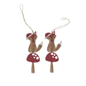 Sass & Belle, Set de 2 ornamente maro & roșu Sass & Belle Festive din lemn