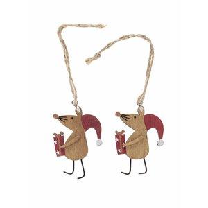 Sass & Belle, Set 2 ornamente din lemn Sass & Belle în formă de șoareci